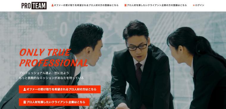 プロチームのサイト画像